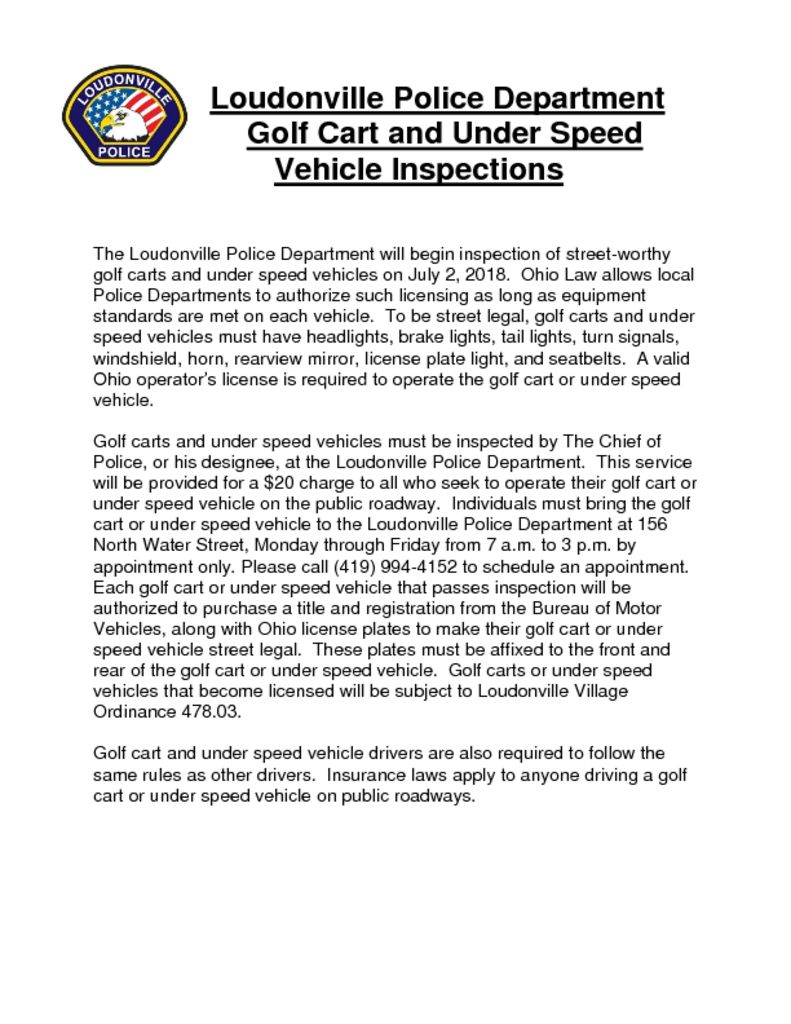 Golf Cart Inspection Cover Letter 2018 - Village of Loudonville