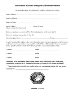 thumbnail of Loudonville Business Emergency Information Form