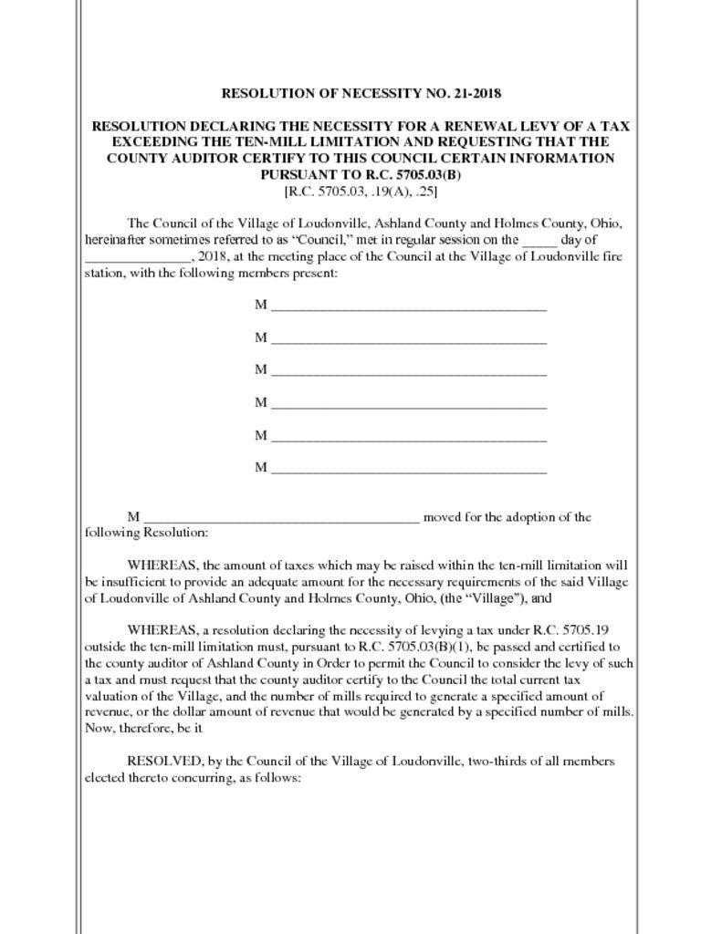 Resolution No 21-2018 - Declaring Necessity to Levy